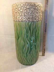 "Vintage Umbrella Holder Stand Green Flowing Leaf w Popcorn Textured Band 19""x 9"""