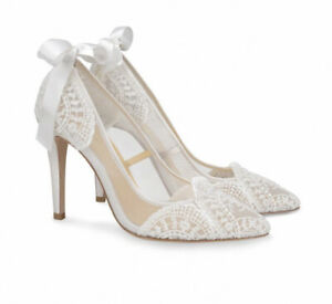 Bella Belle Silk Floral Lace Ivory Heels By Claire Pettibone Size 9