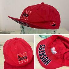 NEBRASKA CORNHUSKERS - Vtg 80s-90s Red Cycling Flip-up Bill Adjustable NCAA Hat