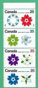 Canada 1970 Winnipeg tagged flowers strip of 4 @ face value