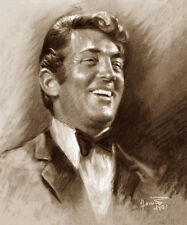 """Dean Martin, Rat Pack bw, Celebrities, Giclee print on Canvas, 20""""x24"""",  by Star"""
