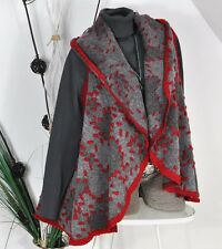 NEU ITALY A-FORM WALK WOOL WOLLE  WESTE JACKE CARDIGAN EDEL GREY-RED 40 42 44