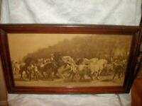 ANTIQUE FRENCH MID 19th C. SEPIA PRINT ROSA BONHEUR THE HORSE FAIR MAHOGANY