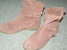BNWT Next suede leather brown tan ankle boots UK 4 womens flat heel £42 new