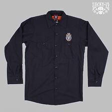 """Lucky 13 Worker Shirt """"Live fast never Die"""" - Hemd Rockabilly Biker Skater NEU"""