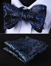 BP706VS Blue Black Paisley Bowtie Men Silk Self Bow Tie handkerchief set