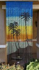 Vintage Bamboo Door Curtain Palm Tree Ocean Sun Hawaiian Island Tiki