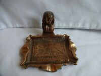 Vintage Egyptian Revival Cast Iron Ashtray Height 8 x 13cm
