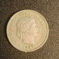New listing 1947 Switzerland 20 Rappen Helvetica Coin. Free shipping in Usa