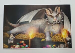 Cat Game of Thrones Dragon Mouse cat toy fire art print Lord of the rings catnip