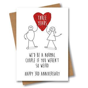 Funny 3rd Anniversary Card - Three Years Heart - Happy Weird Couple Wedding Love