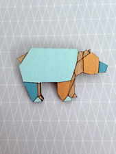Wooden origami bear brooch - bear brooch - geometric brooch - bear jewellery
