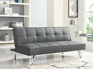 Multi-function Upholstery Fabric Futon Sofa - Charcoal