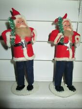 Lot of 2 Vintage Japan Clay Face Santa Claus