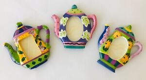 3 Hand Painted Ceramic Teapot Photo Frames or Place Markers Milson & Louis
