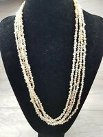 Vintage 1950s long Flapper Style Fresh Water Pearl Seed Necklace 46""