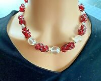 Vintage Red Glass Barley Twist Beaded w Crystals Necklace