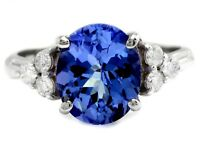 4.15 Carats NATURAL TANZANITE and DIAMOND 14K Solid White Gold Ring
