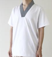Japanese Men's Traditional Kimono inner wear T-shirt Han Juban White Gray JAPAN