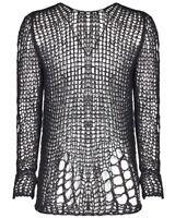 Punk Rave Mens Shredded Knit Sweater Top Black Goth Grunge Dieselpunk Pullover