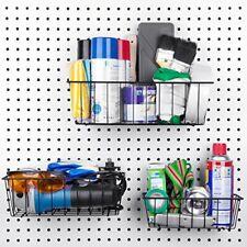"Pegboard Basket Set 3 Pack Hooks to 1/4"" Hole Peg Board Better Tool Organization"