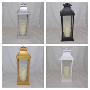 ELAMBIA Outdoor Laterne + flammenlose Kerze Echtflammen-Optik Farbwahl 50cm TOP