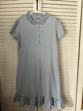 GIRL'S Lands'End short sleeve polo style blue dress size 10-11