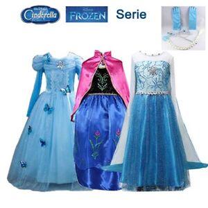 Prinzessin Kleid Kinder Mädchen Elsa Cinderella Anna Kostüm Cosplay Party Frozen