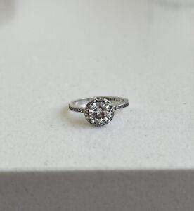 💫Pandora Round Sparkle Halo Ring-ALE 925s-196250CZ- Size 54💫🇬🇧