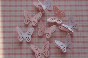 40 BABY SHOWER 3D PAPER BUTTERFLIES LIGHT PINK & WHITE TABLE DECORATION