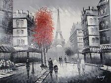 Nero Bianco Rosso Parigi Paesaggio Urbano grande tela Pittura ad Olio francese moderno originale