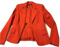 New Simon Chang Women's Jacket Red Longs Sleeve V-Neck Blazer Career Size M