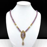 Vintage 1928 Purple Beaded Rhinestone Pendant Necklace Gold Tone