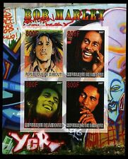 BOB MARLEY 2007 Djibouti Stamp Sheet; Unperforated, mnh, One Love; Jah; Jamaica