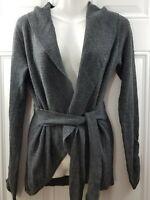 Matilda Jane Dark Gray Long Sleeve Knit Belted Open Cardigan Womens Size Small
