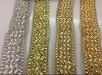 BEAUTIFUL 4CM WIDE Ribbon Vintage EMBROIDERED per meter
