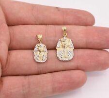 Faraón egipcio Rey Diamante Corte Colgante Real Oro Blanco Amarillo 10K