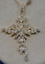 PJM  Rhinestones Dangling Leaf Cross Pendant Necklace