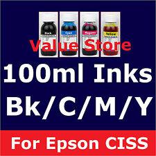 4x 100ml inks for Epson 252 254 CISS WF-3620 WF-3640 WF-7610 WF-7620 252xl 254xl