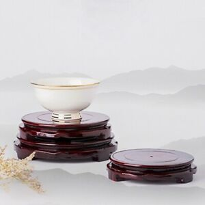Chinese Style Round Matte Imitation Wooden Rotating Vase Stand Base Decor PF