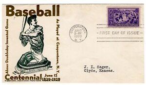 1939 Baseball 855 First Day Cover #73b.1 Pilgrim