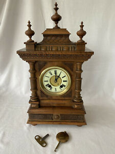 Antique HAC Wurttemberg Ornate Mantel Clock + Labels - Parts, Spares Or Repair