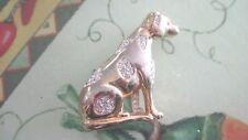 Vintage Goldtone Sitting Dog w/ Swarovski crystals Brooch 163