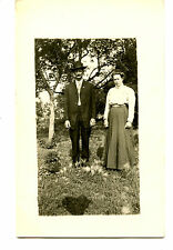 Man & Gril Outside Lawn-Father & Daughter ?-RPPC-Vintage Real Photo Postcard