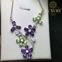 100% Natural Amethyst & Peridot Gemstone 925 Sterling Silver Flower Necklace