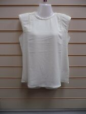 LADIES TOP CREAM SIZE 10 LACE DETAIL SLEEVELESS BNWT