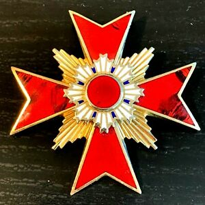 VINTAGE ANTIQUE KNIGHTS TEMPLAR PIN BADGE PENDANT GOLD RED ENAMEL MASONIC CROSS