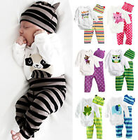 Newborn Baby Girls Boys Long Sleeve Romper Tops + Pants + Hat Outfit Clothes Set