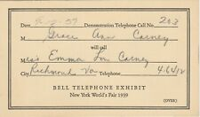 N.Y. World's Fair 1939 - Bell Telephone Exhibit - Demonstration Call Card