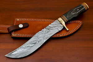 Rody Stan HAND MADE DAMASCUS BLADE BOWIE HUNTING KNIFE - BRASS GUARD - AS-5225